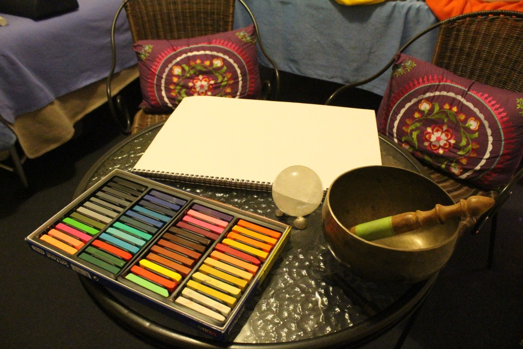 Colours & Bowl for Vibrational Energy Healing Session Perth